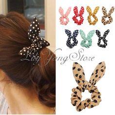 Women Rabbit Ear Hair Bow Tie Band Japan Korean Chiffon Ponytail Holder Bracelet