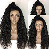 Human Hair Wigs Full Lace Deep Wave Glueless Lace Front wig African Brazilian Virgin Hair 150% Density for Women by KRN (18inch, Lace front wig)