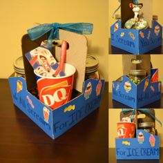Fill the drink carrier with two mason jars with candy toppings, an ice cream dish and a DQ giftcard.
