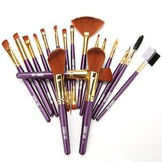 Celltronic Makeup 19pcs Brushes Set Powder Foundation Eyeshadow Eyeliner Lip Brush Tool Kit Purple ** Want to know more, click on the image. (Note:Amazon affiliate link)