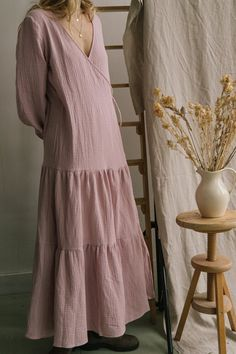 DRESSES FOR WOMEN. Summer dress, wedding dress and anything in between. Loose fit wrap dress tied at the sides. Made with cotton muslin fabric for a soft, relaxed finish. Muslin Dress, Muslin Fabric, Cotton Muslin, Pregnancy Outfits, Tiered Dress, Lovely Dresses, Get Dressed, Wrap Dress, Cold Shoulder Dress