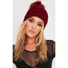 Junah Burgundy Knitted Pom Pom Beanie ($7.42) ❤ liked on Polyvore featuring accessories, hats, red, knit pom beanie, red hat, beanie caps, adjustable hats and pom pom hat