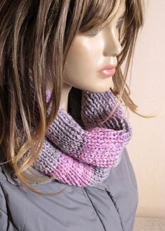 infinity scarf hand knit grey and pink infinity scarf by selenayy