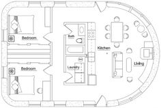 Make that rounded end square and I think this is a great floor plan.