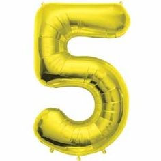 """Number 5 Gold 34"""" Supershape Foil Balloon Party Supplies Canada - Open A Party"""