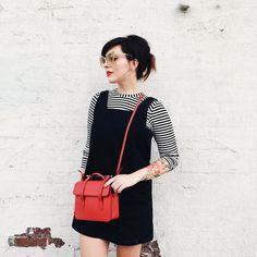 "Keiko Lynn on Instagram: ""Beatnik. @whit_ny dress with @topshop jumper, @strathberry bag, @ditaeyewear sunglasses. @urbandecaycosmetics ""temper"" matte lipstick."""