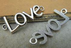 """10pcs 12x40mm Antique Silver Letter """"Love"""" Connector Link Charm Pendant C3278   eBay"""