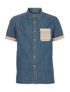 Blue Aztec Pocket Short Sleeve Denim Shirt