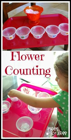 Flower Counting - Using flowers and cups with numbers on them kids can practice counting.
