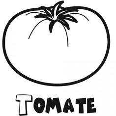 Dibujo de tomate. Imágenes infantiles de fruta y verdura