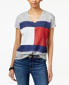 Tommy Hilfiger Flag Graphic T-Shirt, Only at Macy's - Gray M
