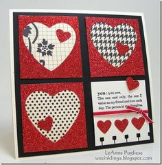 Valentine card in red, white and black ... luv that glitter paper!!! ... die cut hearts ... layout of four large squares filling a square card ...