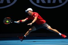 Kei Nishikori Photos Photos - Kei Nishikori of Japan plays a forehand in his second round match against Jeremy Chardy of France on day three of the 2017 Australian Open at Melbourne Park on January 18, 2017 in Melbourne, Australia. - 2017 Australian Open - Day 3