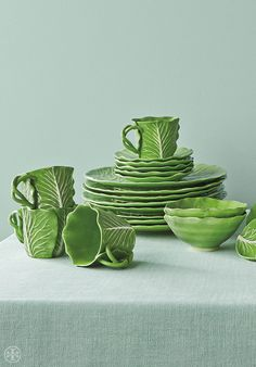 Every day mugs and plates from the Dodie Thayer for Tory Burch lettuce ware collection.