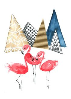 Flamingos and Mountains Art Print A4 Aquarel by IsaBellabyMargriet, €9.00