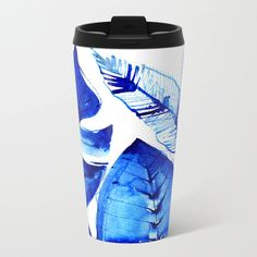 Jungle Blues Metal Travel Mug by lostmarketplace. Worldwide shipping available. Ferns and big leaves! #jungle #decor #mug #travelmug