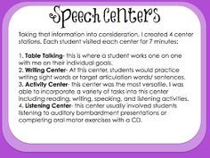 Speech Centers...maybe this will be how I bring aRTIc lab to all of my groups across all sound errors.