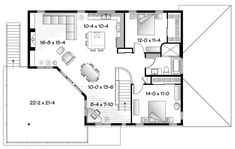 Second Floor Plan of Contemporary   House Plan 76121