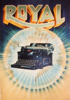 Royal typewriter again . Vintage Advertisements, Vintage Ads, Royal Typewriter, Tattoo Ideas, Advertising, Illustrations, Graphic Design, Movie Posters, Travel