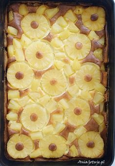 Prosty sernik budyniowy z ananasem, 6 My Favorite Food, Favorite Recipes, Sweets Cake, Polish Recipes, Cheesecakes, Yummy Cakes, Cake Recipes, Biscuits, Pineapple