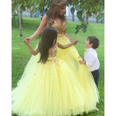 >> Click to Buy << Beautiful See Though V Neck Yellow Flower Girl Dresses Fluffy Long Girls Pageant Dress Floral Appliques Little Girl Party Gown #Affiliate