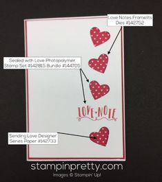 Sealed with Love & Love Notes Framelits Dies Valentine's Day card.  Mary Fish, Stampin' Up! Demonstrator.  1000+ StampinUp & SUO card ideas.  Read more http://stampinpretty.com/2016/12/sealed-with-love-valentine-card.html