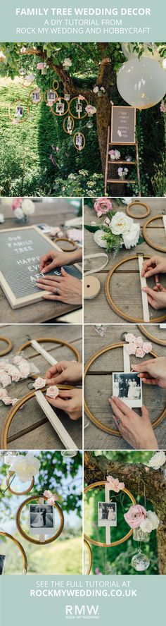 DIY Embroidery Hoop Wedding Photo Family Tree Tutorial | Wedding Decor | Wedding Ideas | Wedding Inspiration | Peg Board | Giant Balloon | Vintage Step Ladder | Polaroids Pictures | #Wedding #DIY #Tutorial #Family #Tree #Portraits #Photos #Polaroids #Balloons #Pegboard | #Stepladder