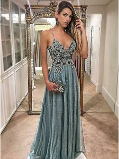 A-Line Spaghetti Straps Floor-Length Dark Blue Prom Dress with Beading