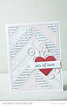 Chevron Segments Cover-Up Die-namics, Pierced Fancy Flourish Die-namics, Heart STAX Die-namics, Tag Builder Blueprints 6 Die-namics, Love Is in the Mail Stamp Set, Floral Fantasy Background, Typewriter Text Background - Keisha Campbell  #mftstamps
