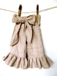 Girls Linen Ruffle Pants with Bow Sash 18months - 24 months. $43.00, via Etsy.