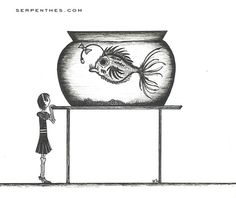 HER NEW GOLDFISH print by serpentes on Etsy, $20.00