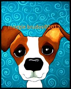 8x10 Jack russell terrier dog  Original Maggie Brudos Wright whimsical art Tangerine Studio. $45.00, via Etsy.