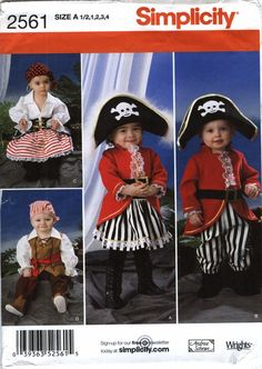 Simplicity 2561 Toddler's Costumes and Hats in Three Sizes