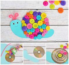 Escargot rigolo avec un CD et des boutons multicolores