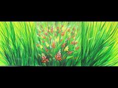 Como pintar un cuadro con pinturas acrilicas - Triptico - Ramas y Flores - Ana Gjurinovich - YouTube