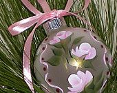 Christmas Ornament - Baby Pink Roses, Green Gold Stems with Polka Dots Pink Ribbon Loop Hand Painted OOAK Heirloom - Ready to Ship