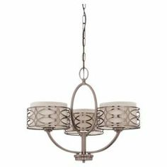 "Bowed 3-light chandelier with an interlocking openwork motif and khaki fabric shades.   Product: ChandelierConstruction Material: Metal and glassColor: Hazel bronzeAccommodates: (3) 60 Watt A19 incandescent bulbs - not includedDimensions: 20.375"" H x 25"" Diameter"