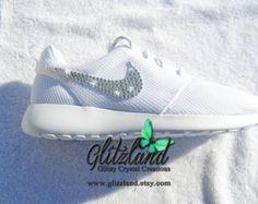 Blinged White Girls& / Women& Nike Roshe Run w/ Swarovski Crystals Clear Shoes, Crystal Shoes, Sparkly Shoes, Nikes Girl, Nike Roshe Run, Bride Shoes, Running Shoes For Men, White Nikes, Nike Women