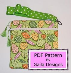 Square eReader  case zipper wristlet sewing pattern