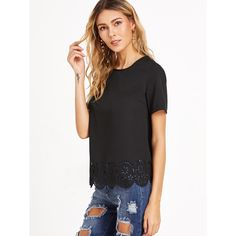 Black Laser Cutout Scallop Hem Top (14 CAD) ❤ liked on Polyvore featuring tops, scallop hem top, cutout tops, scallop top and cut out top