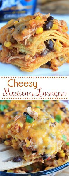 Cheesy Mexican Lasagna - Layers of shredded chicken, poblano peppers, seasonings, corn tortillas, and cheese create this amazing dinner the whole family will crave! #ad
