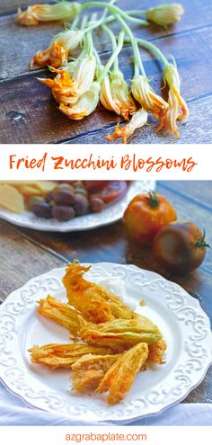 Fried Zucchini Blossoms make a wonderful, seasonal appetizer you'll love. Fried Zucchini Blossoms are a delightful summer appetizer. #appetizer #starter #zucchini #zucchiniblossoms