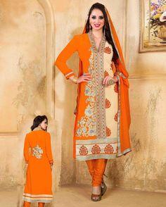 Orange   & Beige gorgeous Embroidered Faux Georgette Salwar Kameez (Semi Stitched)       Fabric:   Faux Georgette       Work:   Embroidered       Type:   Salwar Kameez (Semi   Stitched)       Color:   Orange & Beige                 Fabric Top