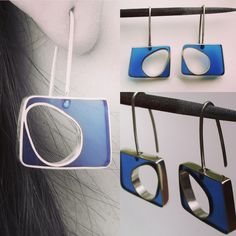 Pendientes en plata y resina. Earings. Silver and resin.