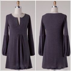 Nwt Charcoal Belle Sleeve Dress