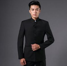 6569aea2c010 Slim fit blazer men chinese tunic suit jacket male new design groom married  suits man fashion blazers stand collar black grey. Men's Clothing
