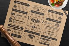 Restaurant Menu Typographic Elements #menu #restaurant #flyer #cover #badge #cafe #design #element #icon #illustration