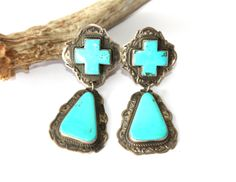 Two Grey Hills Kingman Turquoise Cross Earrings https://cowgirlkim.com/collections/whats-new/products/two-grey-hills-kingman-turquoise-cross-earrings