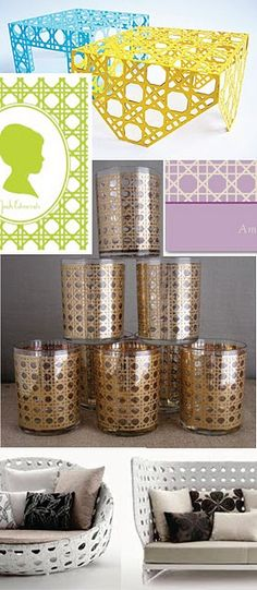 laser cut steel tables from Lee Walsh, slightly twee notecards in grass green and lavender, these fantastic tumblers that could immediately incite a little party on the patio...and B&B Italia's uber-expensive Canasta outdoor furniture