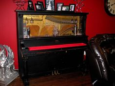 A piano bar we made out of an old piano from the thrift store...